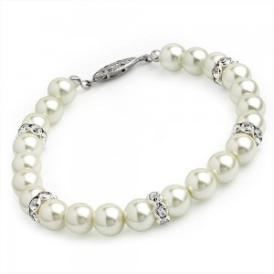 Pearl & Crystal Rondelle Bracelet With Clasp